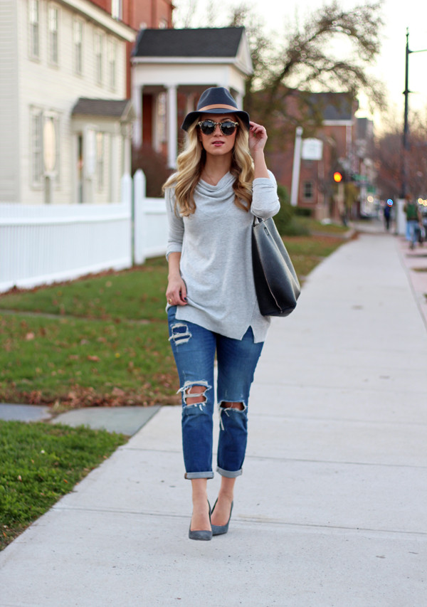 Gray-Cowlneck-Sweater