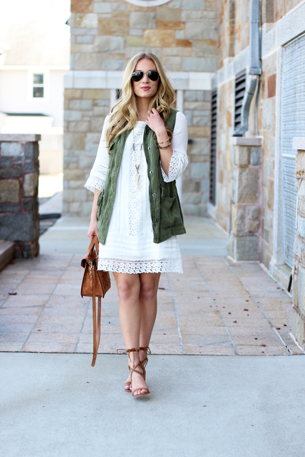 Green-Army-Vest-White-Lace-Dress