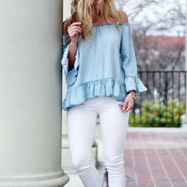 Off Shoulder chambray top White Jeans