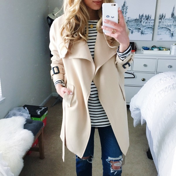 Neutral Trench Striped Tee