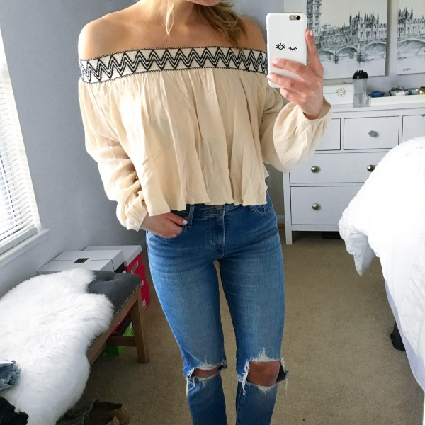 Off Shoulder Crop Top Ripped Jeans