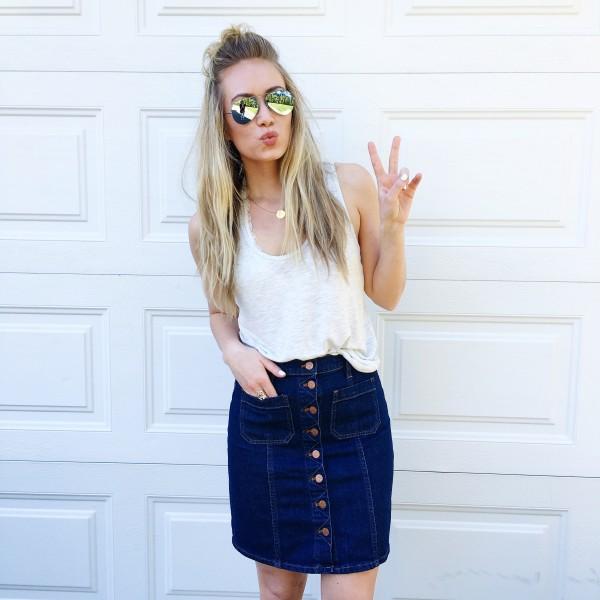 Layering Tank Denim Mini Skirt