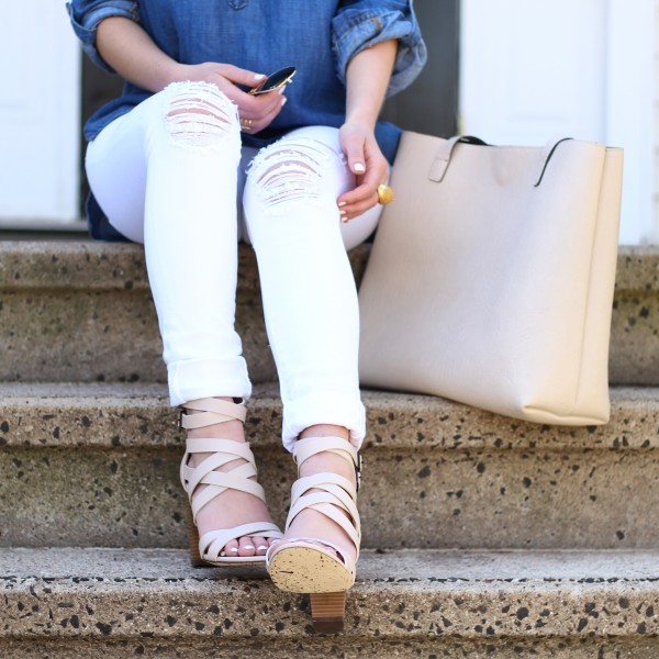 Strappy Heels Neutral Tote ripped Jeans