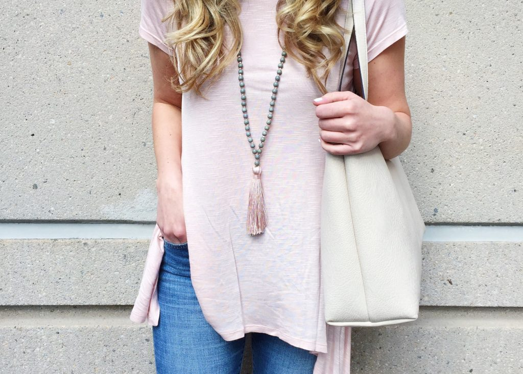 Blush Pink Tee Tassel Necklace