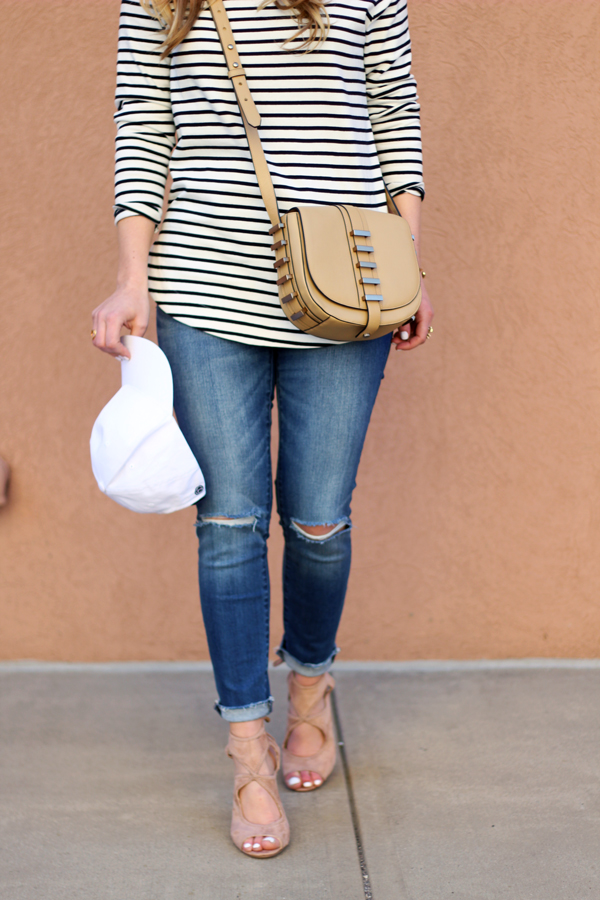 Striped-Tee-Baseball-Cap-Ripped-Jeans