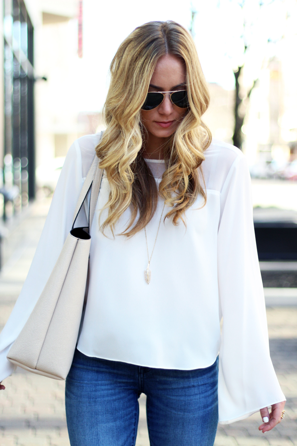 White-Bell-Sleeve-Top