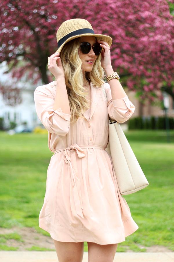 Blush-Pink-Shirtdress-Sun-Hat
