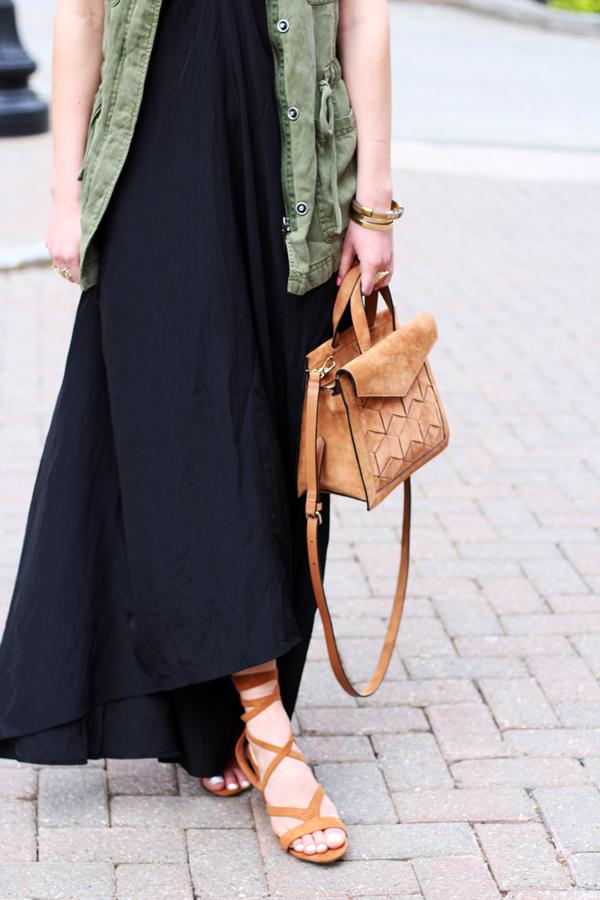 Cognac-Satchel-Black-Maxi-Dress-Green-Vest