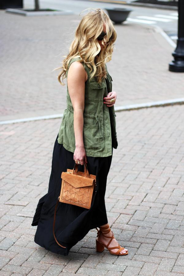 Green-Utility-Vest-Black-Maxi-Dress-Cognac-Tote