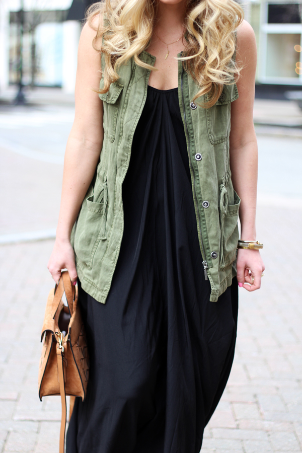 Green-Utility-Vest-Black-Maxi-Dress