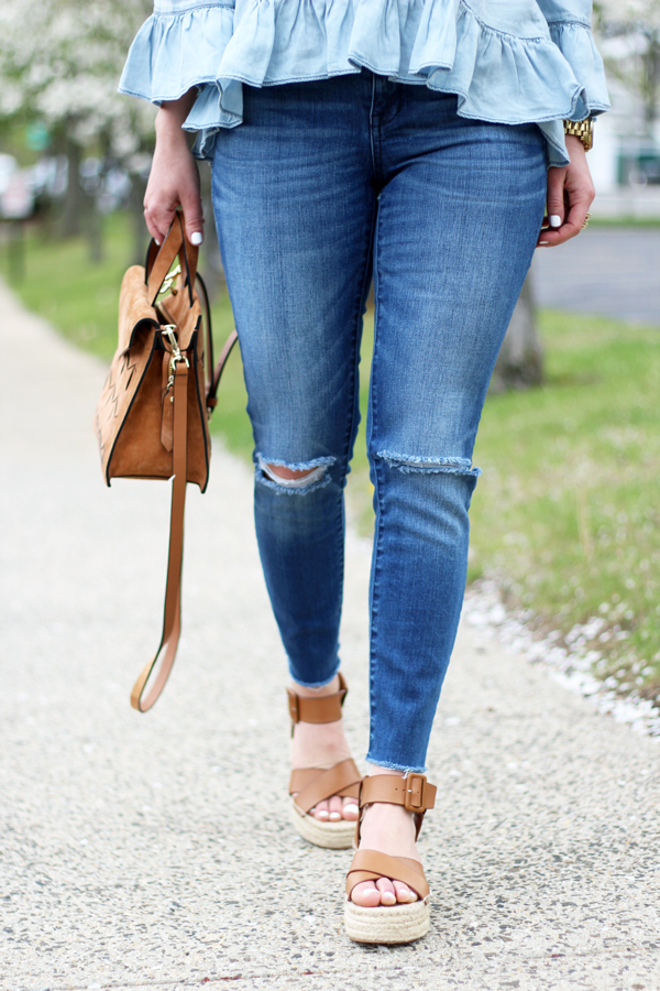 Madewell-Ripped-Skinny-Jeans-Platform-Sandals-Ruffle-Top