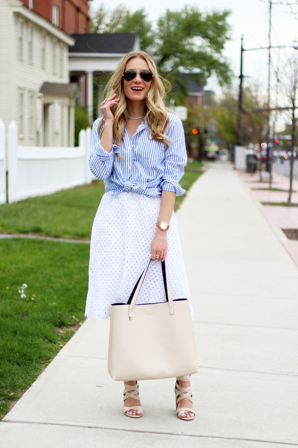 Nude-Carryall-Tote-Striped-Shirt-Eyelet-Skirt