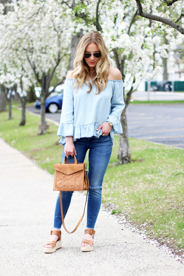 Off-Shoulder-Chambray-Ruffle-Top