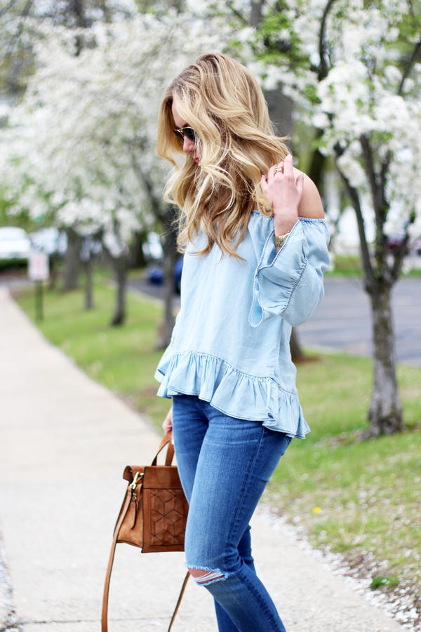 Off-Shoulder-Chambray-Top-Spring-Style