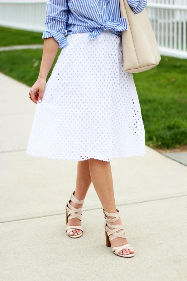 Shoedazzle-Strappy-Heels-White-Eyelet-Skirt