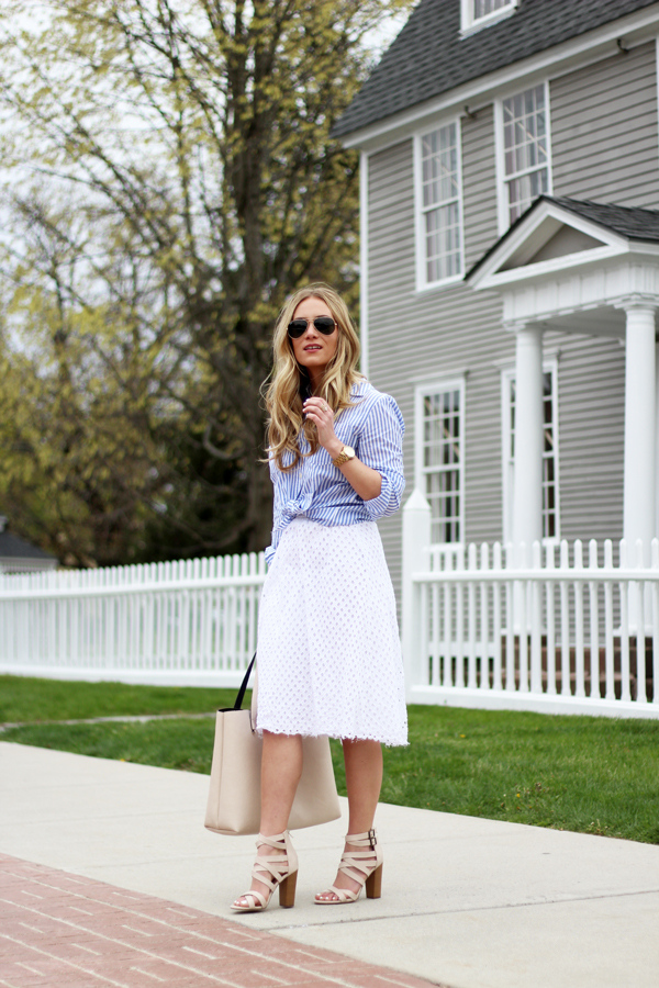 Spring-Outfit-Striped-Shirt-Eyelet-Skirt