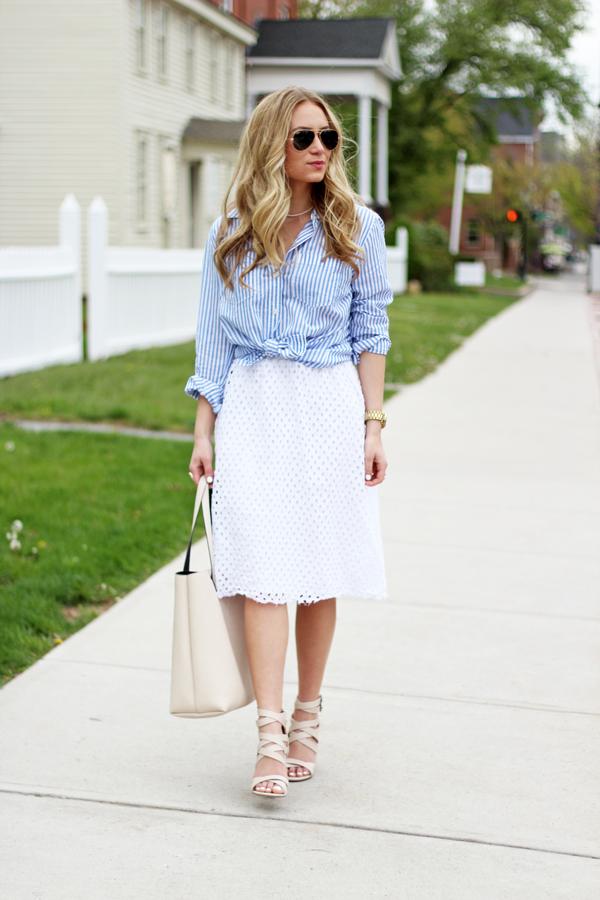 Striped-Button-Up-Shirt-Eyelet-Skirt