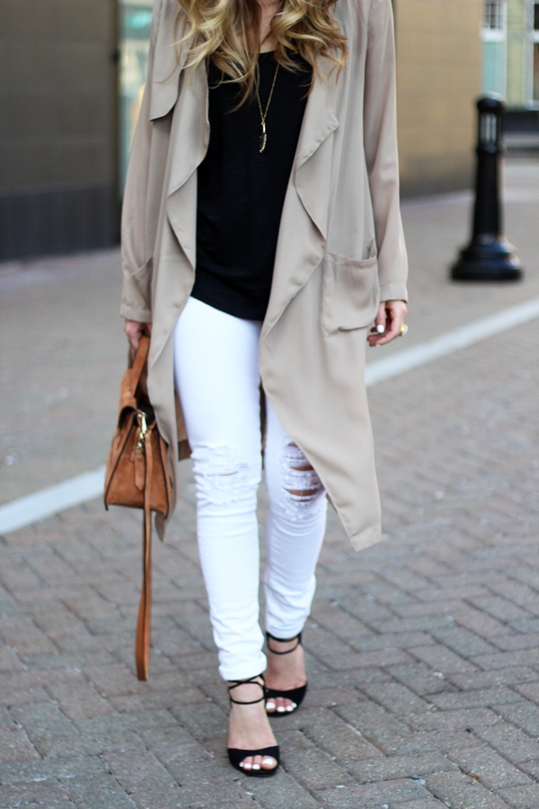 Tan-Draped-Trench-Coat-White-Ripped-Jeans
