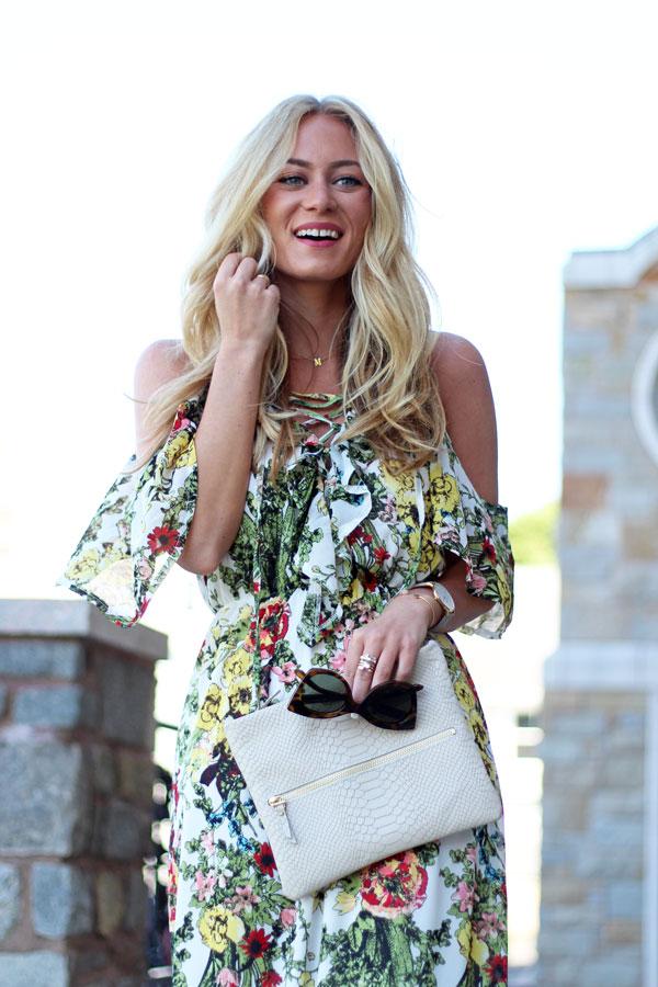 Blonde-Hair-Gigi-New-York-Clutch-Floral-Dress