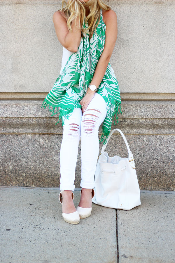 Distressed-White-Jeans-Palm-Print-Scarf