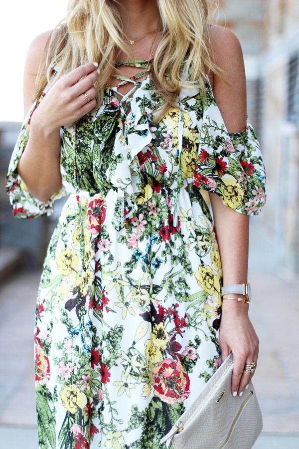 Lace-Up-Floral-Flowy-Maxi-Dress