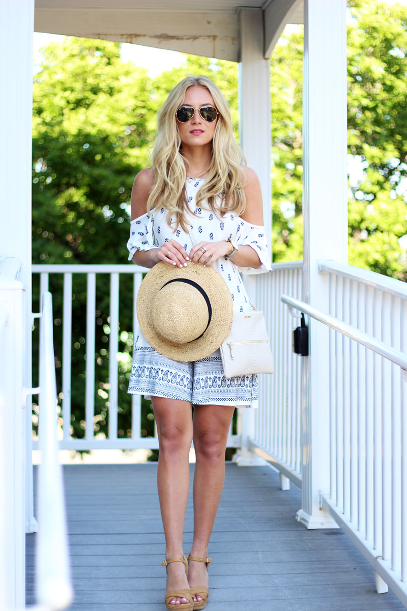 Paisley-Printed-Romper-Straw-Hat-Neutral-Wedges-Summer-Style