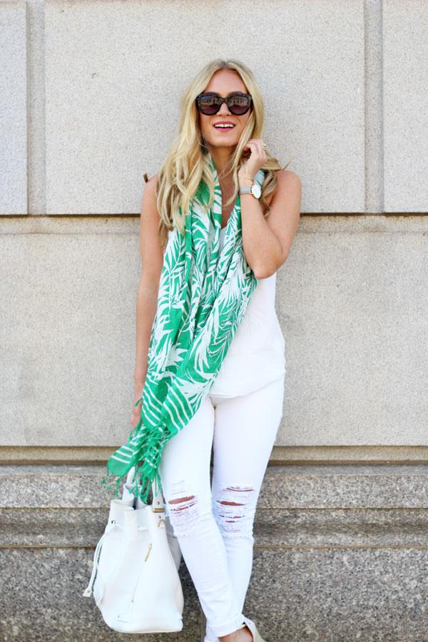 Palm-Print-Scarf-Summer-White-Denim