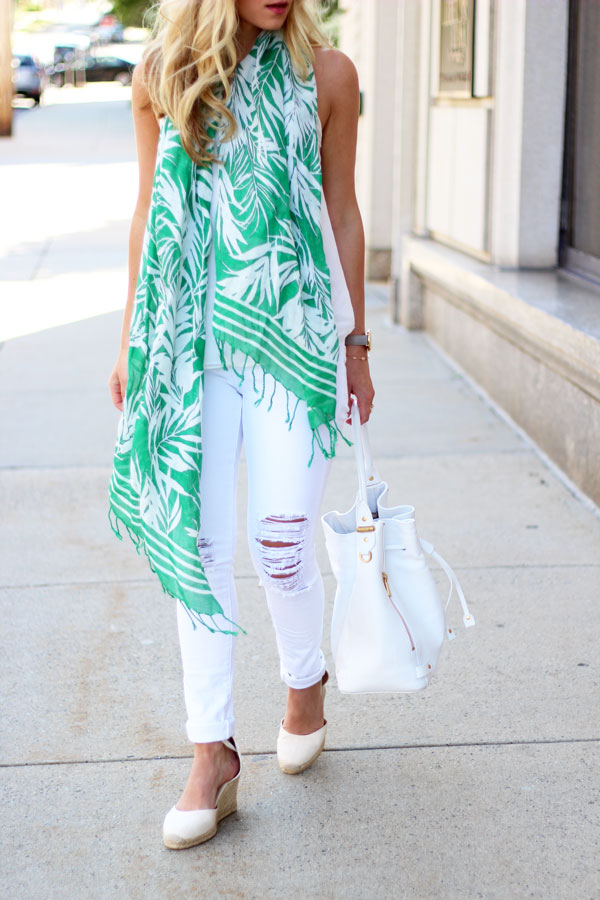 Talbots-Palm-Printed-Scarf-White-Ripped-Jeans-White-Bucket-Bag-Soludos-Wedges