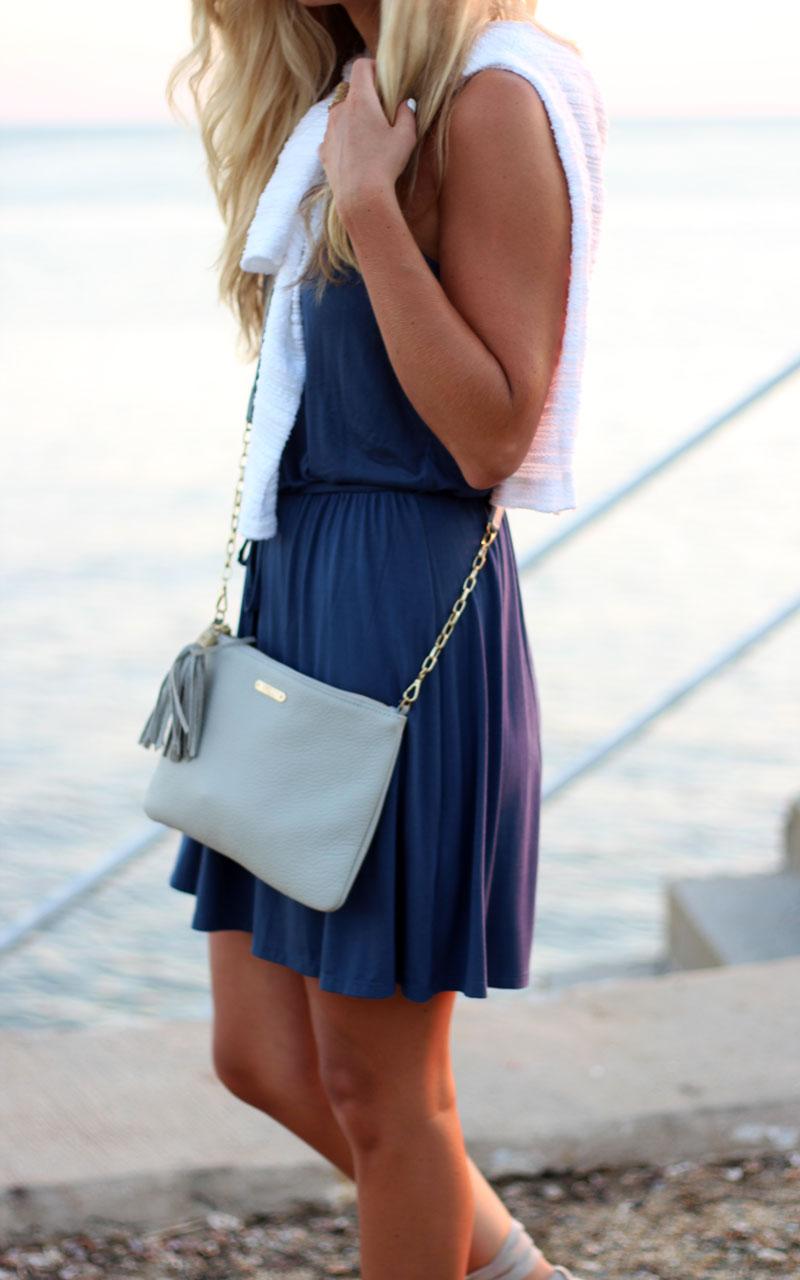 Blue-Mini-Dress-White-Sweater-Gigi-New-York-Bag