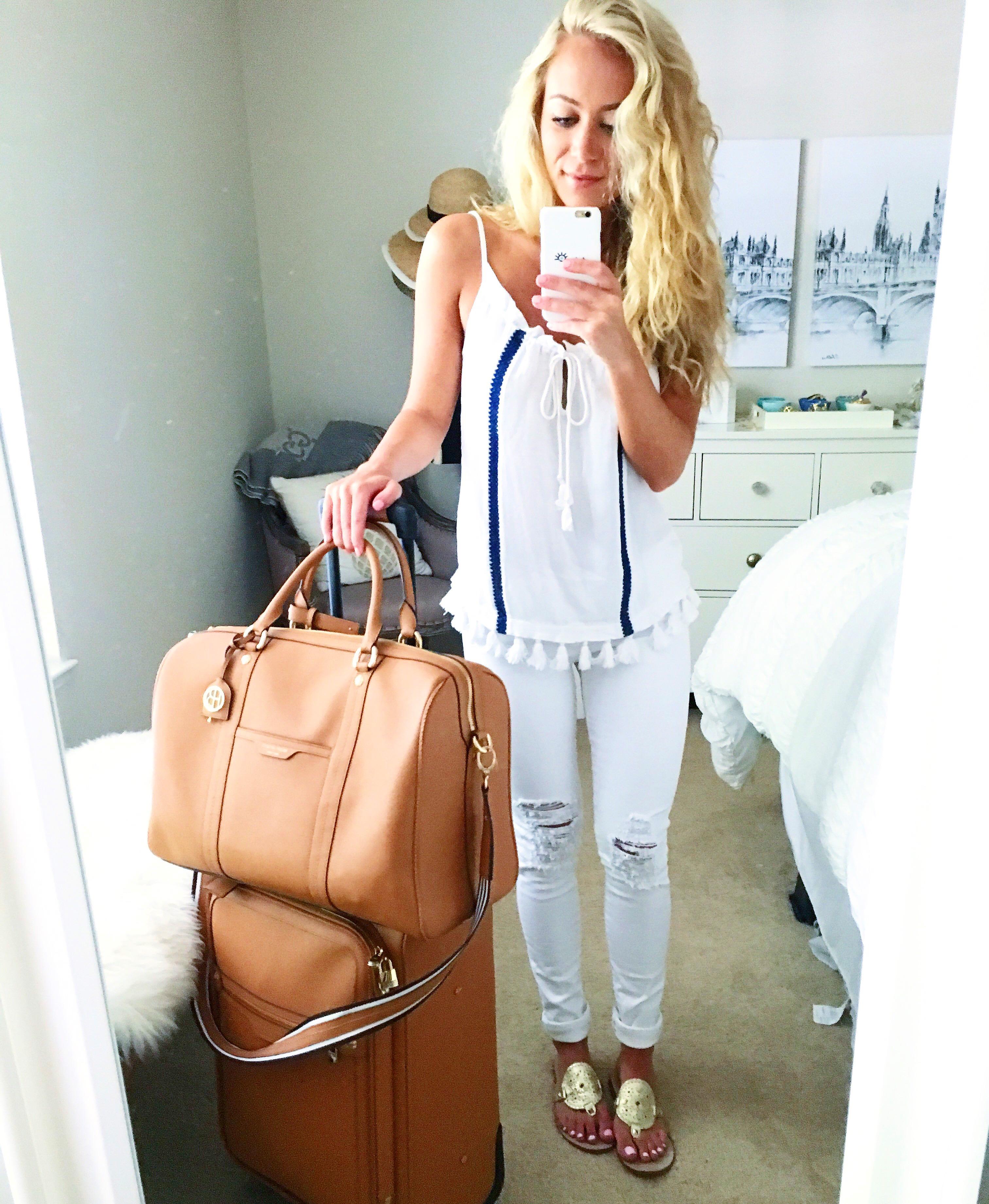 Ella Moss Tassel Trim Tank Top White Distressed Jeans Travel Style