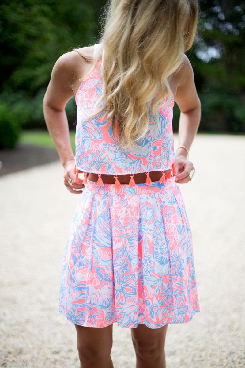Lilly-Pulitzer-Crop-Top-Tassles-Matching-Skirt-Hamptons