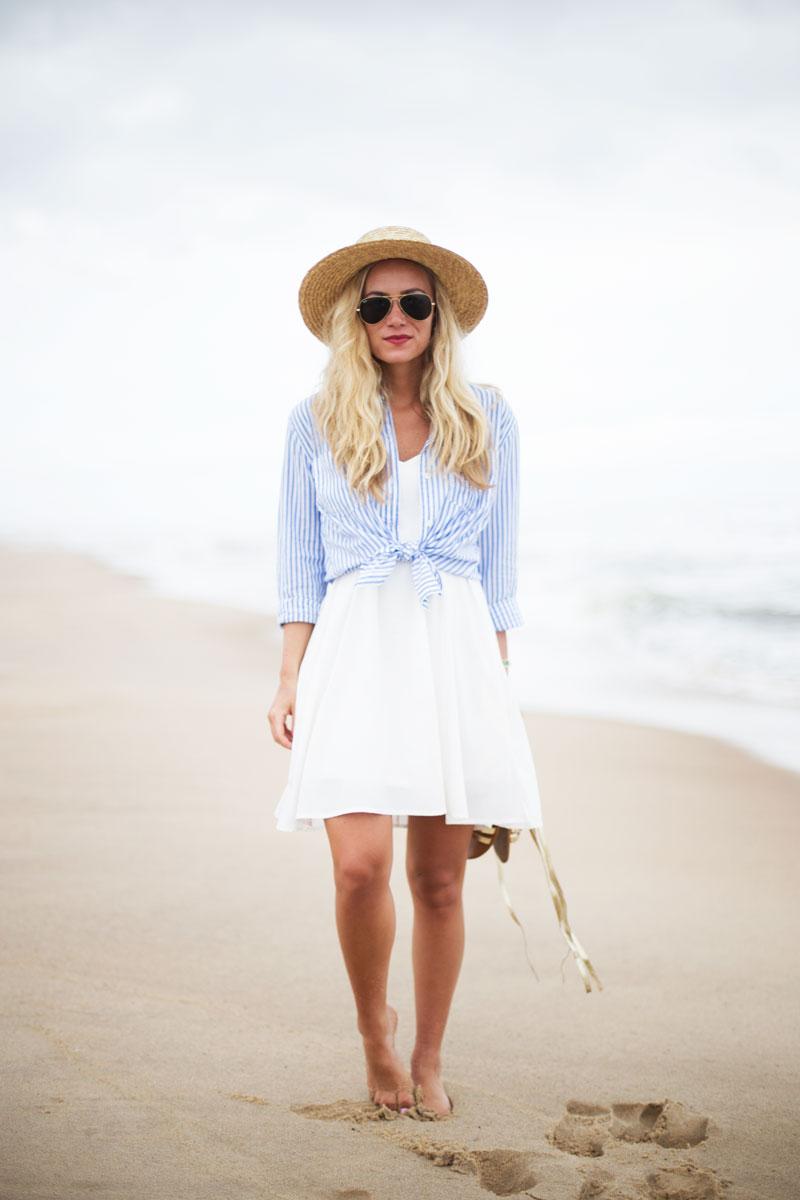Striped-Linen-Top-White-Swing-Dress-Summer-Boater-Hat