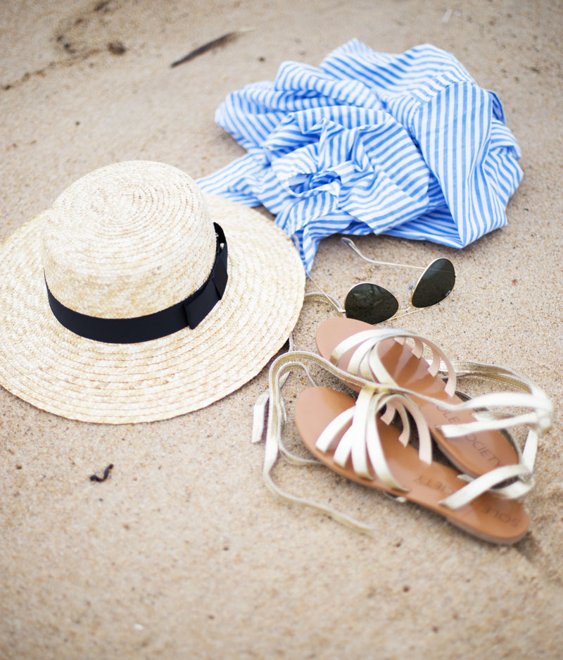 Striped-Top-Boater-Hat-Ray-Bans-Gold-Lace-Up-Sandals