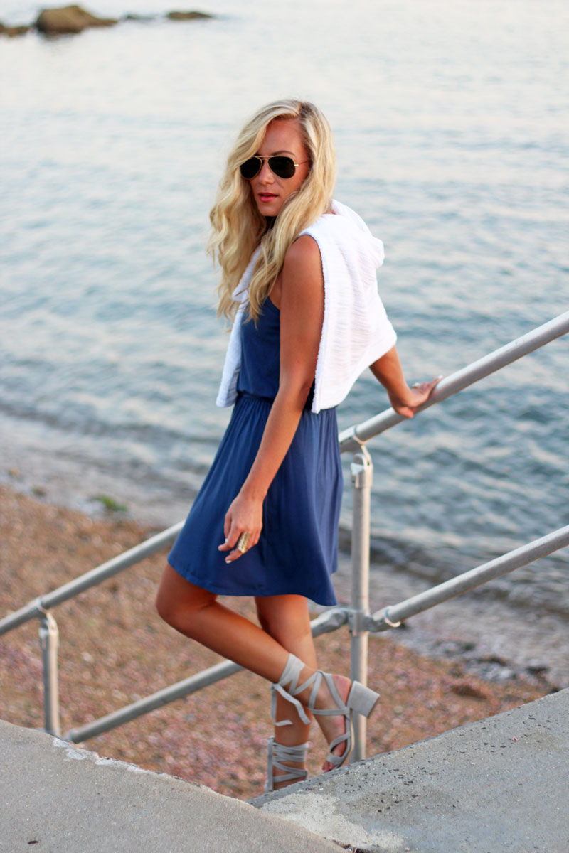 White-Sweater-Blue-Dress-Coastal-Style-By-the-Beach