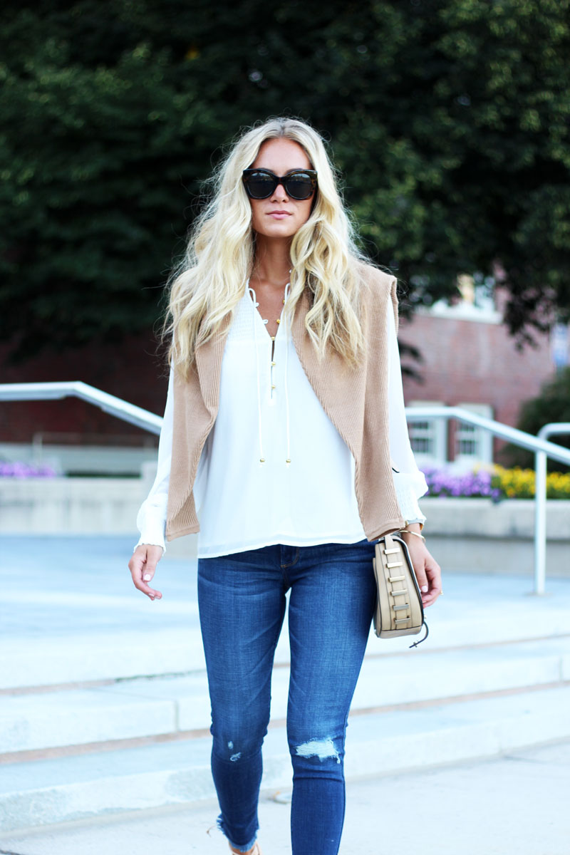 Abercrombie-Fitch-White-Blouse-Dolman-Tan-Sweater-Ripped-Knee-Denim