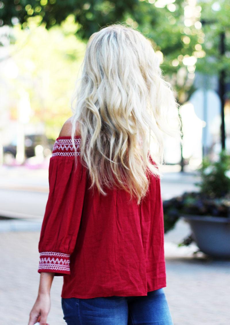 Beachy-Blonde-Hair-Red-Off-Shoulder-Top