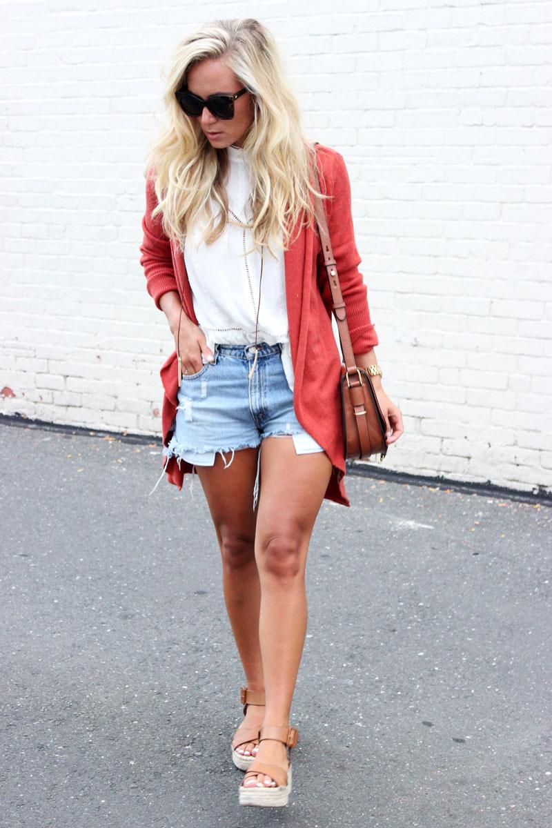 Fall-Cardigan-with-Cutoff-Denim-Shorts