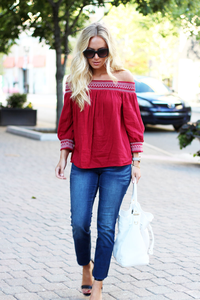 0d64884b4aef7 ... Fall-Transition-Outfit-Off-Shoulder-Top-Skinny-Jeans ...