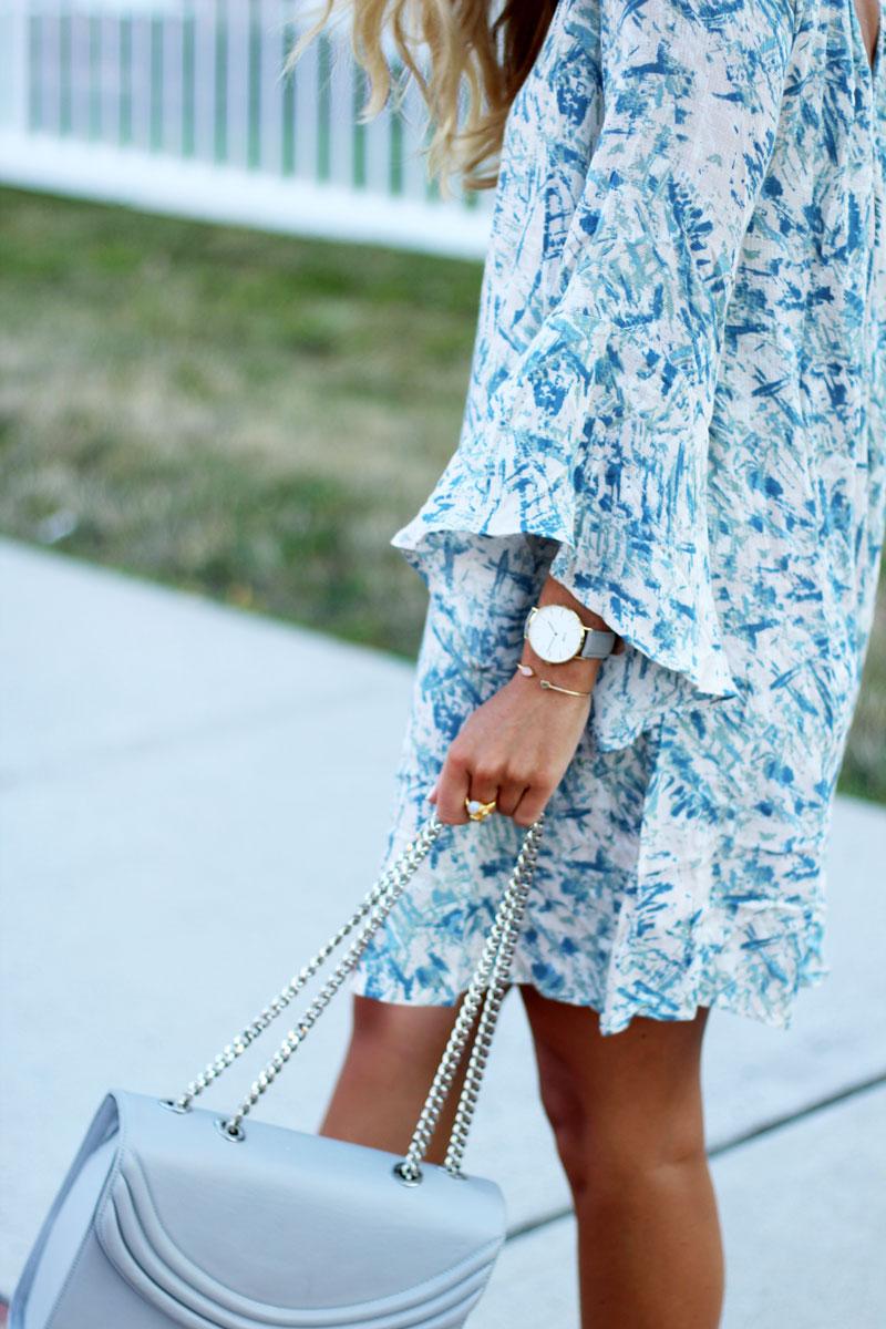 Printed-Bell-Sleeve-Dress