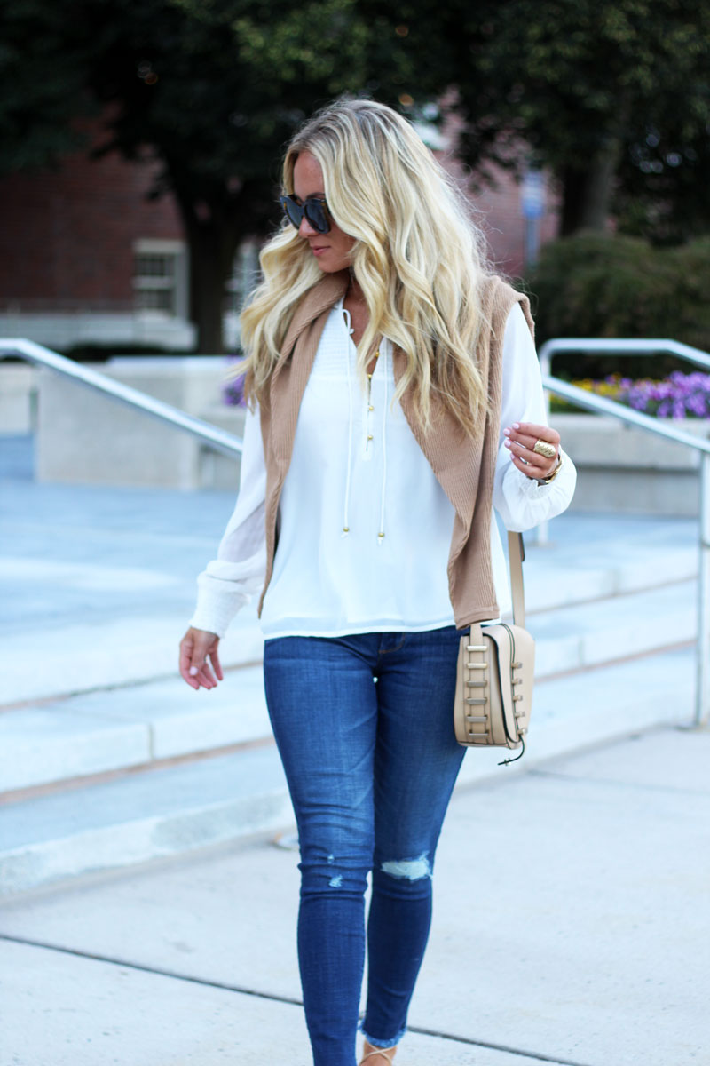 Ripped-Denim-White-Flowy-Blouse-Tan-Crossbody-Bag-Abercrombie-Fitch-Blogger-Style