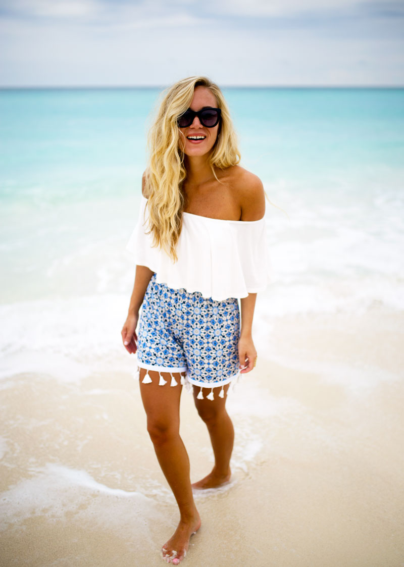boohoo-off-shoulder-top-tassel-shorts-cancun