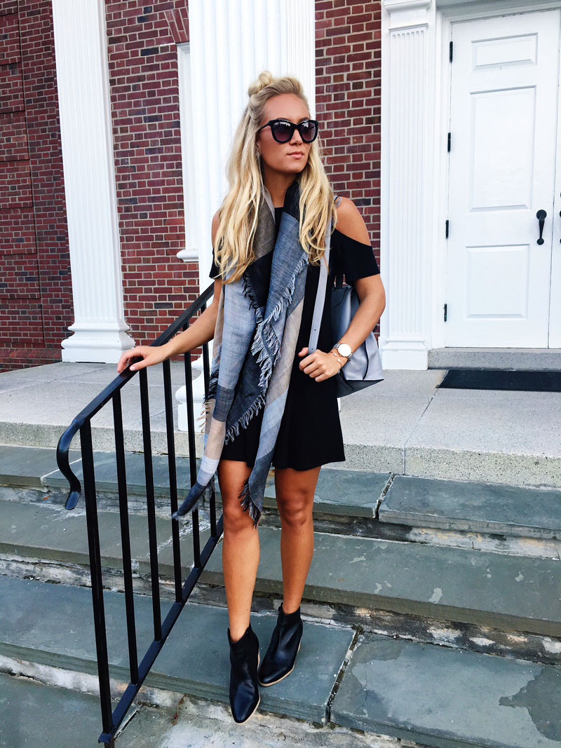 cold-shoulder-dress-colorblock-fall-scarf-sole-society-booties