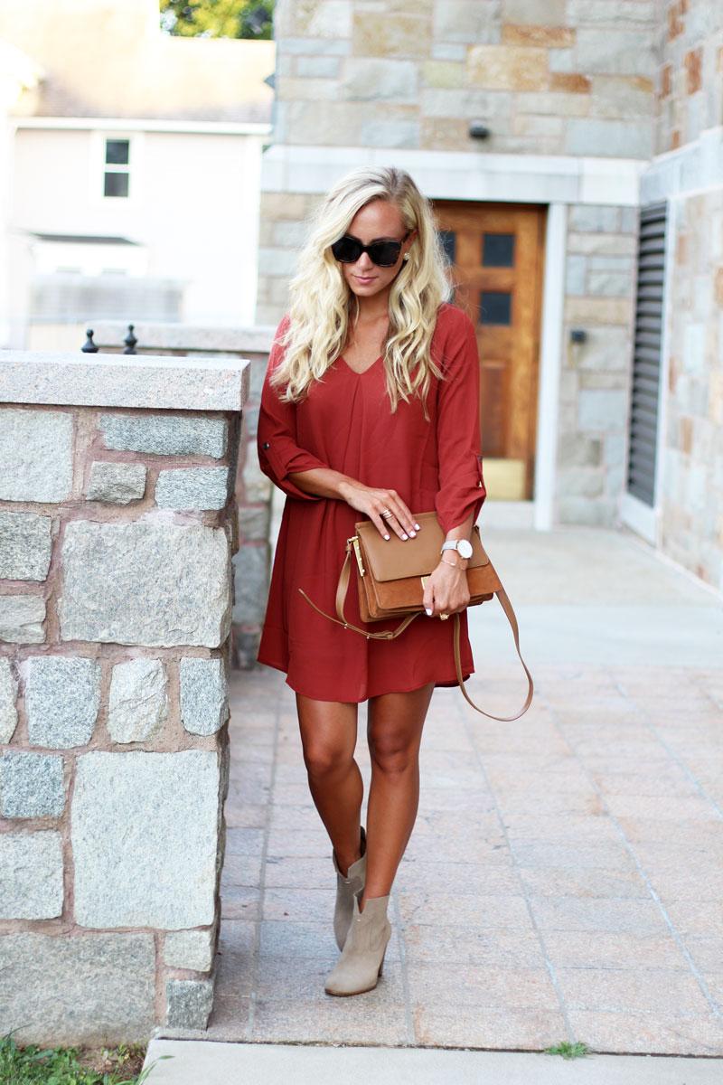 Fall-Dress-Under-$50-Tan-Booties-Cognac-Crossbody-Bag