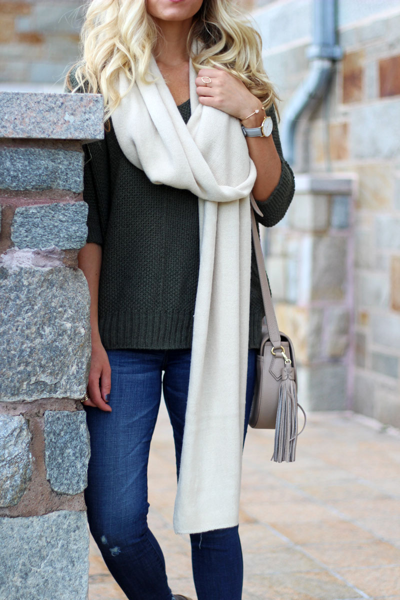 knit-sweater-fall-style-cream-blanket-scarf-abercrombie-jeans