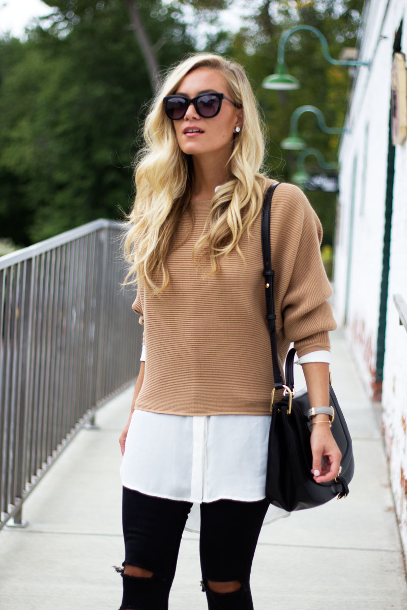 layering-for-fall-dolman-sweater-with-white-tunic-ivanka-trump-bag