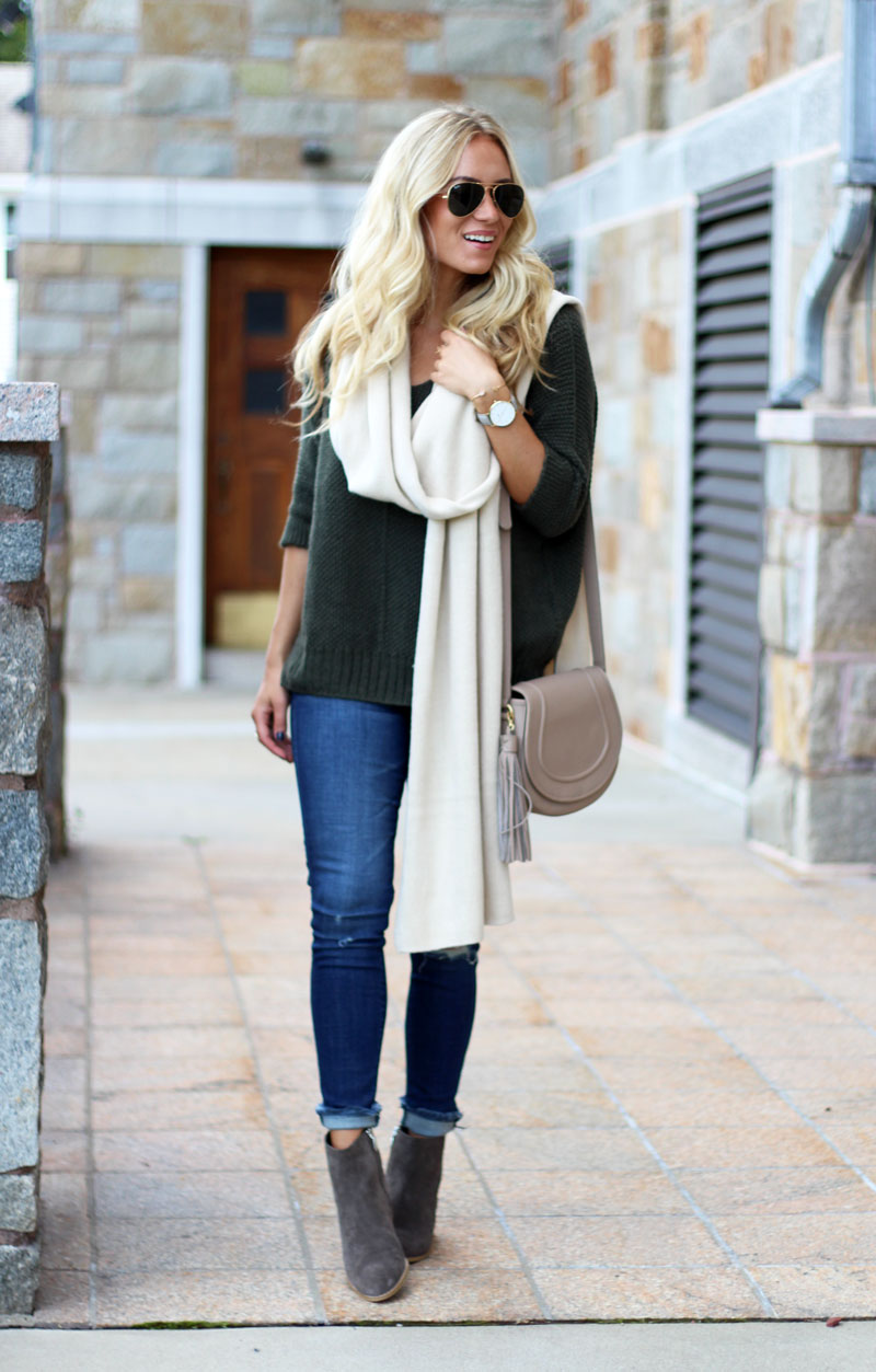 olive-green-sweater-oversized-cream-scarf-clarks-booties-fall