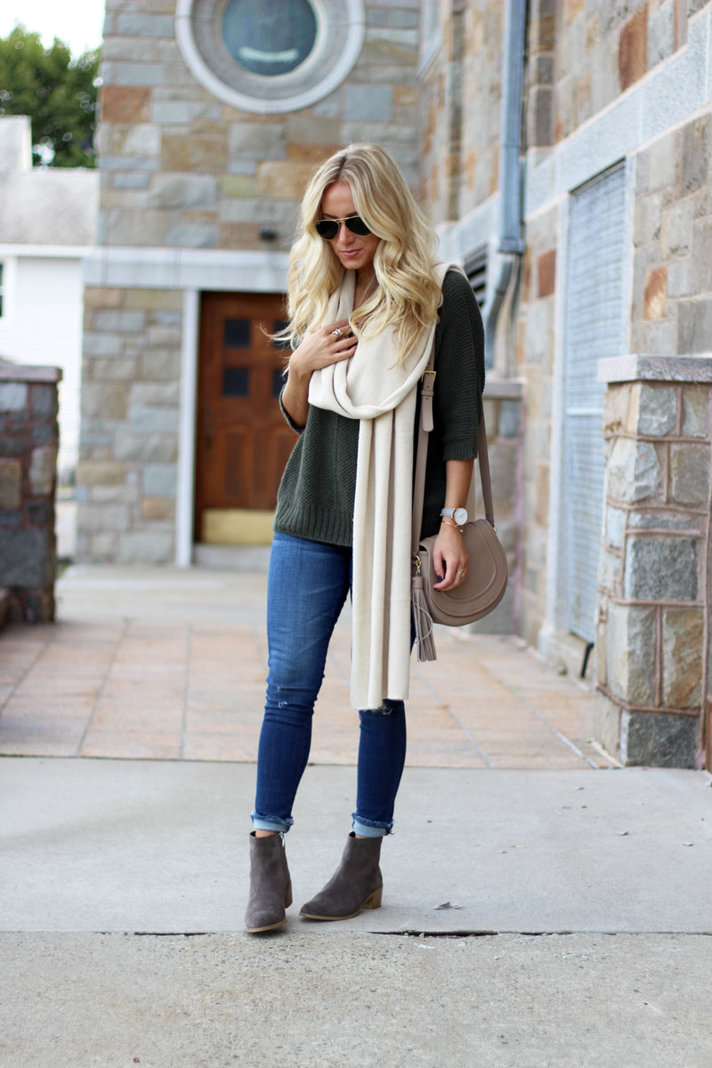 oversized-sweater-cream-blanket-scarf-ripped-jeans-clarks-fall-booties-zappos