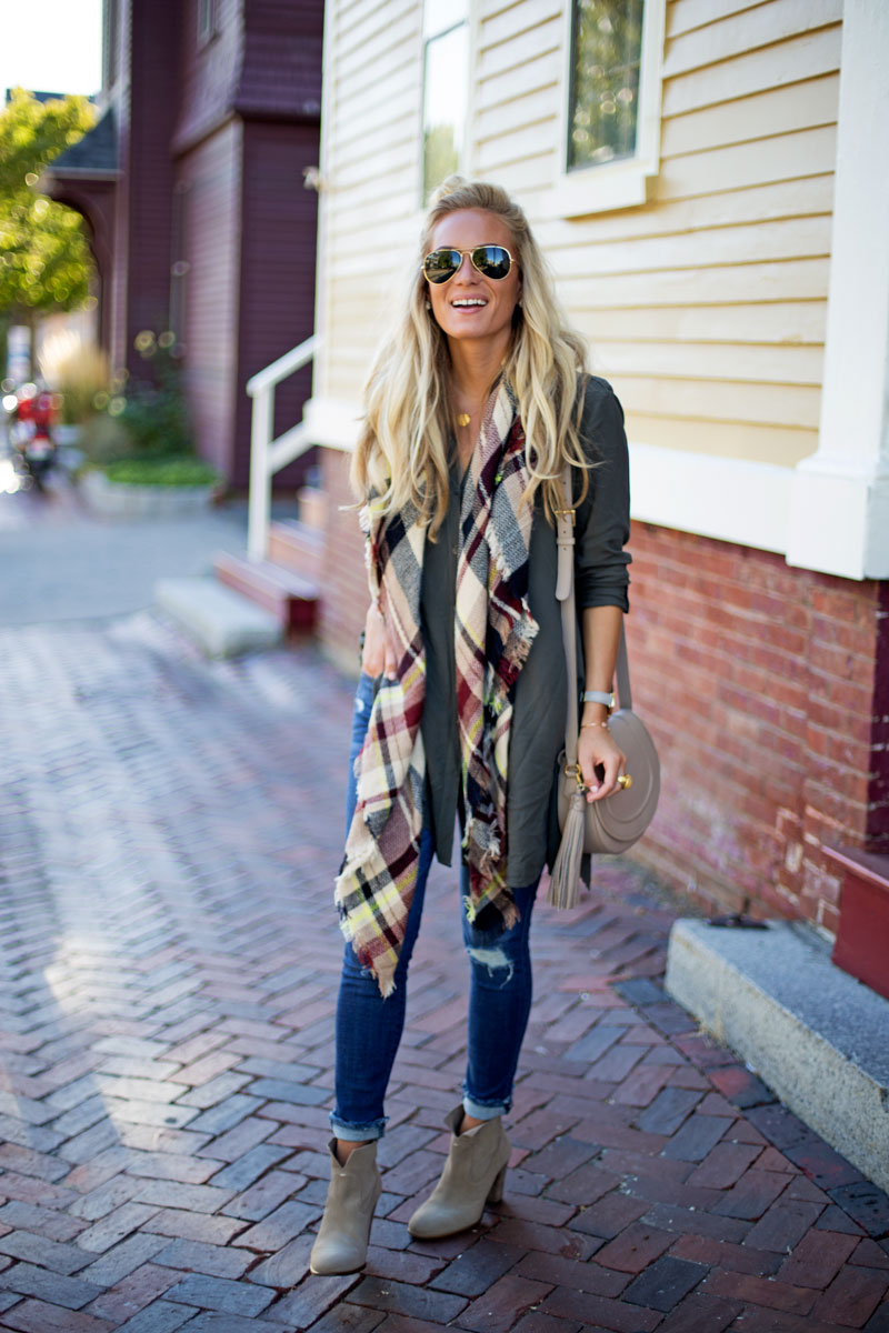 prefall-style-plaid-blanket-scarf-splendid-tunic-ripped-jeans-tan-booties-portsmouth-nh-travel-guide