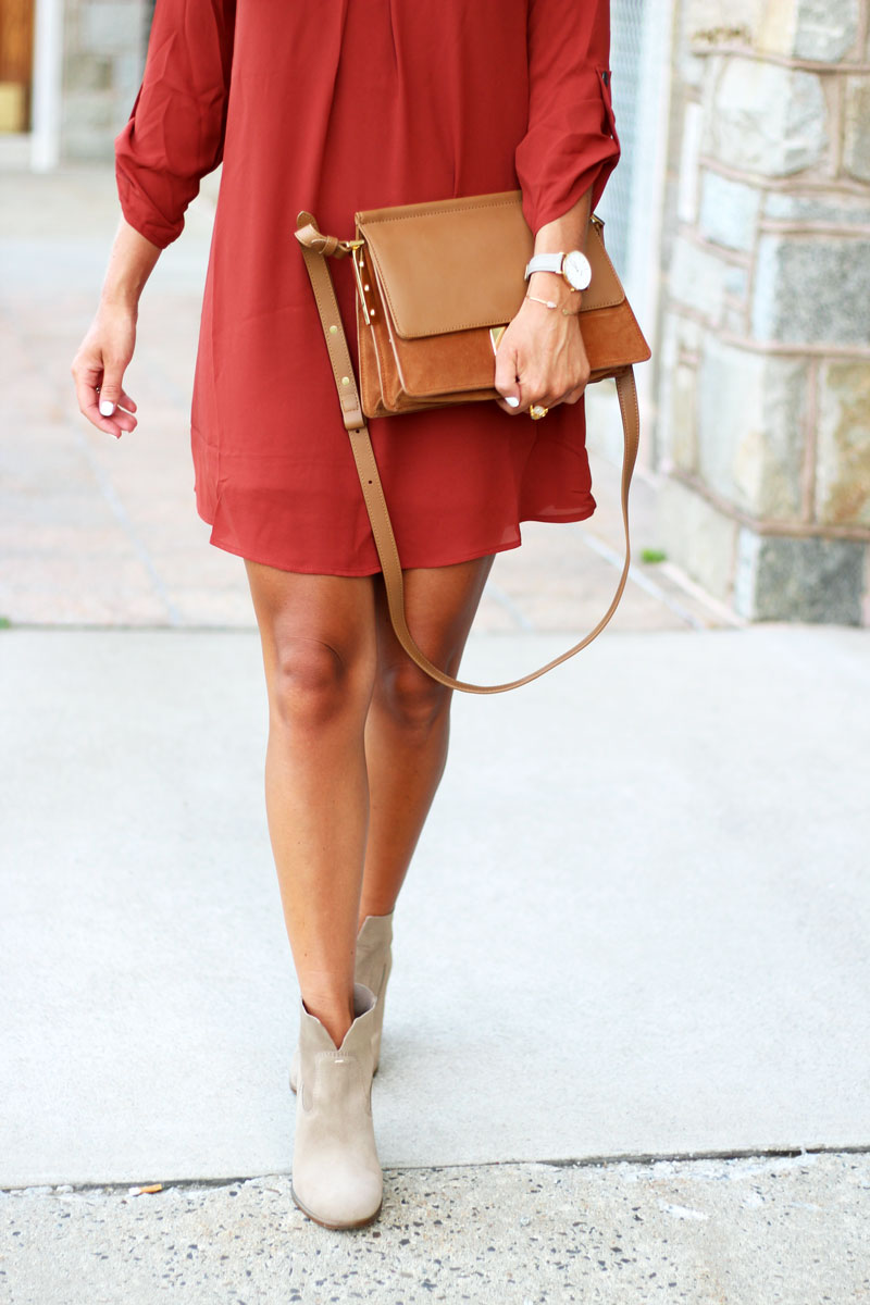 Shift-Dress-Vince-Camuto-Tan-Booties-Fall-Style