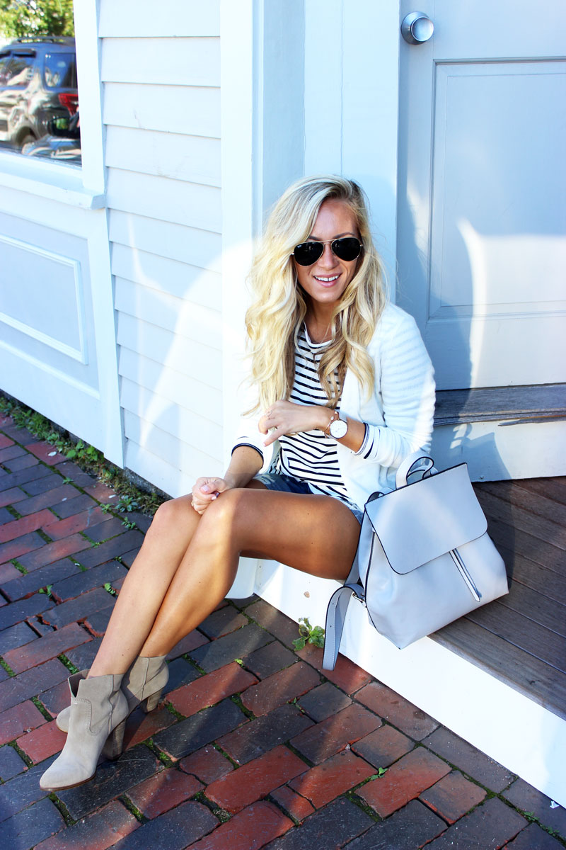 style-cusp-in-kennebunkport-maine-wearing-stripes-cardigan-distressed-shorts-tan-booties